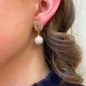 Gold Crystal + Pear Drop Earrings